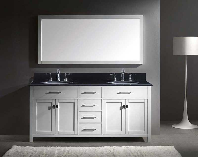"Virtu USA Caroline 72"" Double Bathroom Vanity in White with Black Galaxy Granite Top and Round Sink with Polished Chrome Faucet and Mirror 3"