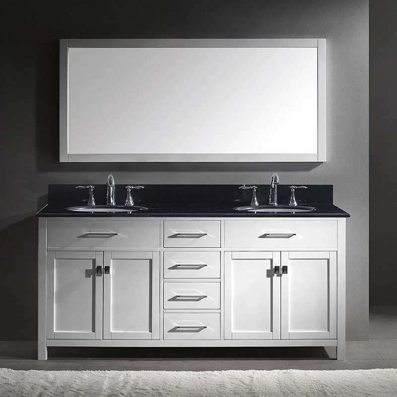 "Virtu USA Caroline 72"" Double Bathroom Vanity in White with Black Galaxy Granite Top and Round Sink with Polished Chrome Faucet and Mirror 2"