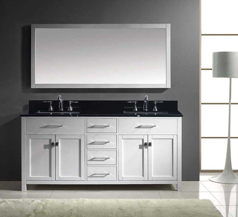 "Virtu USA Caroline 72"" Double Bathroom Vanity in White with Black Galaxy Granite Top and Square Sink with Mirror 3"