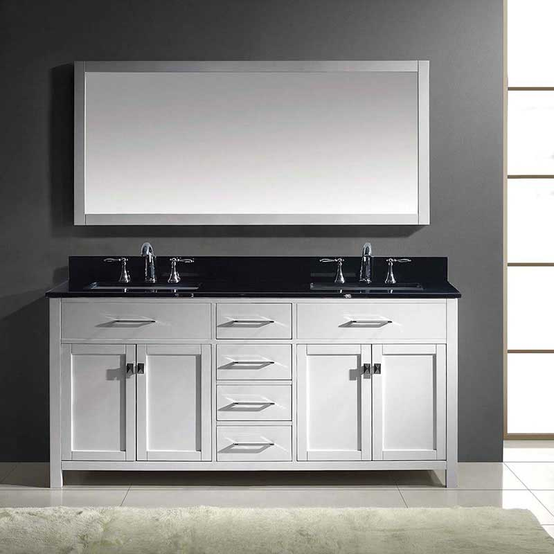 "Virtu USA Caroline 72"" Double Bathroom Vanity in White with Black Galaxy Granite Top and Square Sink with Mirror 2"