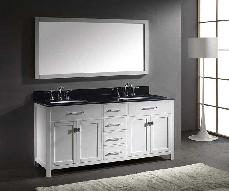 "Virtu USA Caroline 72"" Double Bathroom Vanity in White with Black Galaxy Granite Top and Square Sink with Mirror 4"