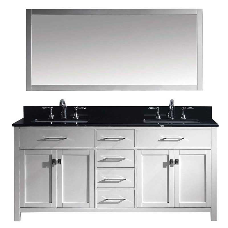 "Virtu USA Caroline 72"" Double Bathroom Vanity in White with Black Galaxy Granite Top and Square Sink with Mirror"