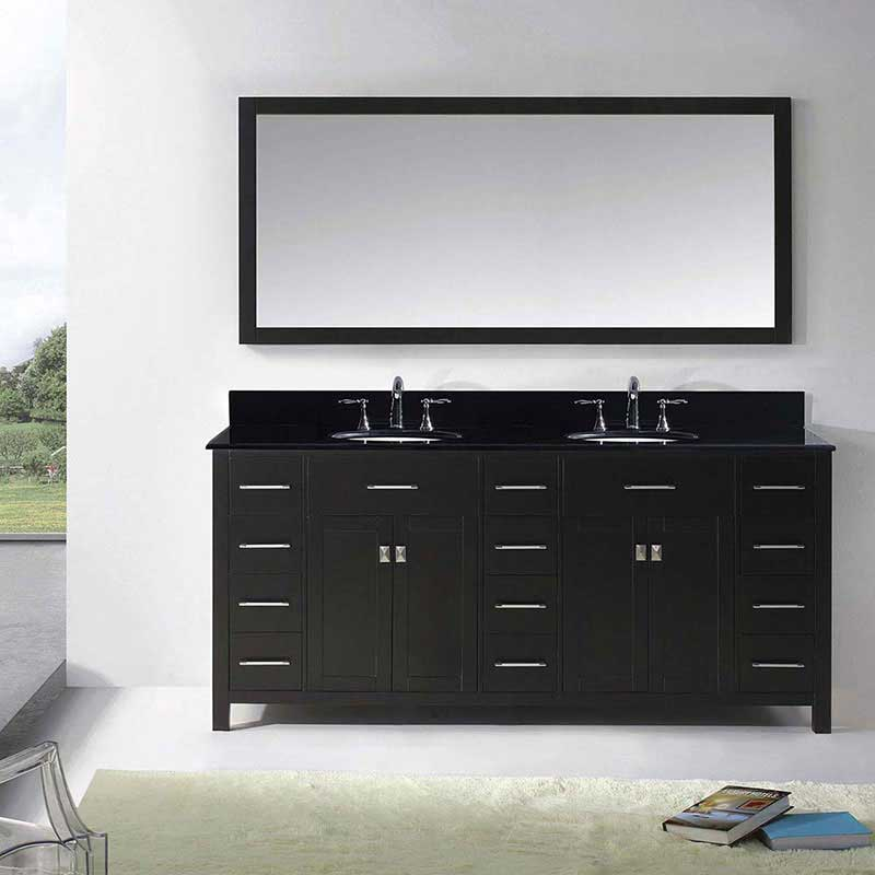"Virtu USA Caroline Parkway 72"" Double Bathroom Vanity in Espresso with Black Galaxy Granite Top and Round Sink with Polished Chrome Faucet and Mirror 2"