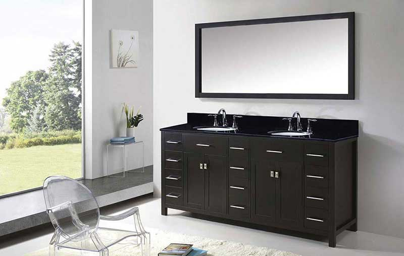 "Virtu USA Caroline Parkway 72"" Double Bathroom Vanity in Espresso with Black Galaxy Granite Top and Round Sink with Mirror 4"