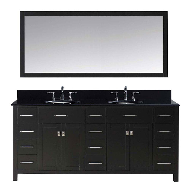 "Virtu USA Caroline Parkway 72"" Double Bathroom Vanity in Espresso with Black Galaxy Granite Top and Round Sink with Polished Chrome Faucet and Mirror"