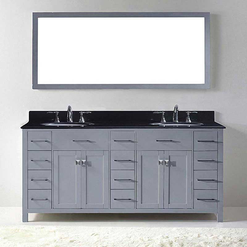 "Virtu USA Caroline Parkway 72"" Double Bathroom Vanity in Grey with Black Galaxy Granite Top and Round Sink with Brushed Nickel Faucet and Mirror 2"