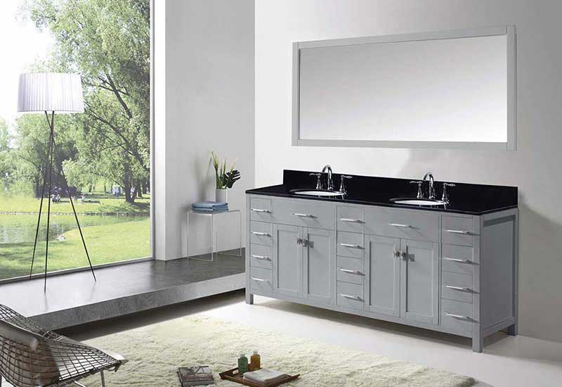 "Virtu USA Caroline Parkway 72"" Double Bathroom Vanity in Grey with Black Galaxy Granite Top and Round Sink with Brushed Nickel Faucet and Mirror 4"