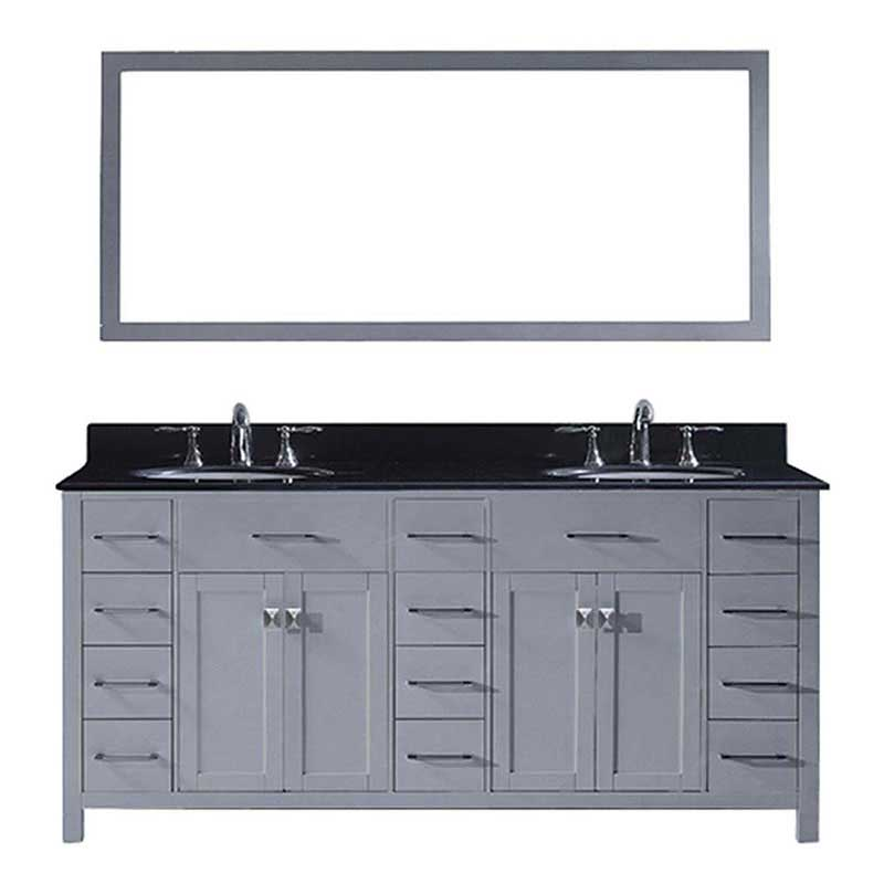 "Virtu USA Caroline Parkway 72"" Double Bathroom Vanity in Grey with Black Galaxy Granite Top and Round Sink with Brushed Nickel Faucet and Mirror"