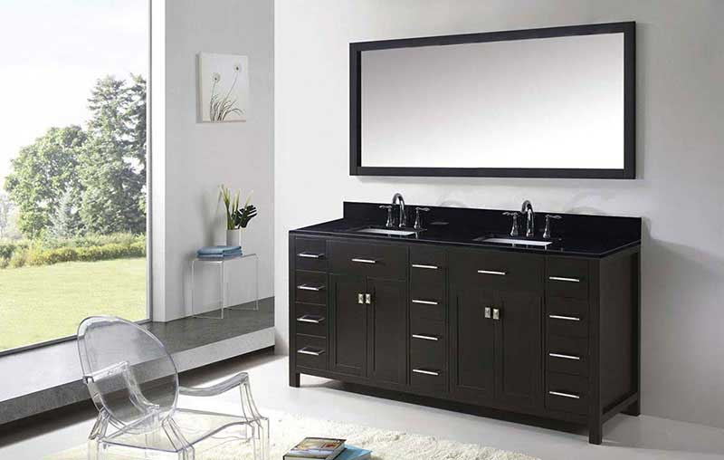 "Virtu USA Caroline Parkway 72"" Double Bathroom Vanity in Espresso with Black Galaxy Granite Top and Square Sink with Polished Chrome Faucet and Mirror 4"