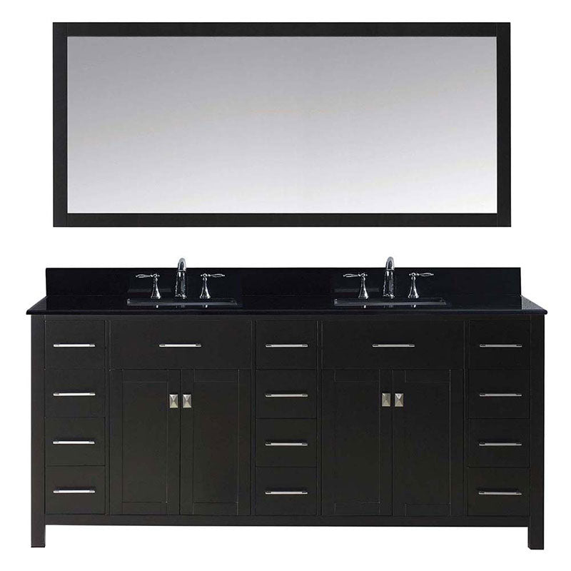 "Virtu USA Caroline Parkway 72"" Double Bathroom Vanity in Espresso with Black Galaxy Granite Top and Square Sink with Polished Chrome Faucet and Mirror"