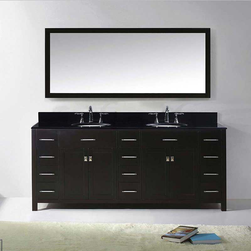 "Virtu USA Caroline Parkway 78"" Double Bathroom Vanity in Espresso with Black Galaxy Granite Top and Round Sink with Brushed Nickel Faucet and Mirror 2"
