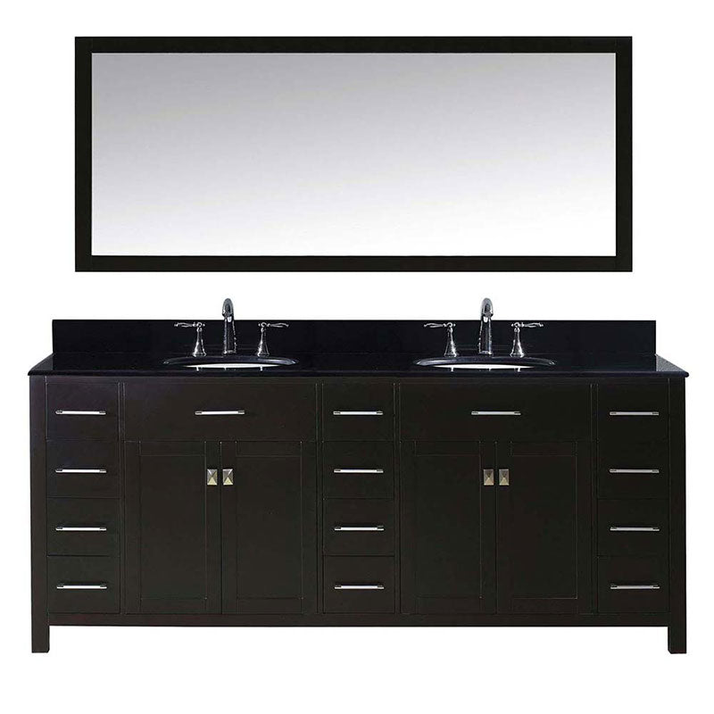 "Virtu USA Caroline Parkway 78"" Double Bathroom Vanity in Espresso with Black Galaxy Granite Top and Round Sink with Brushed Nickel Faucet and Mirror"