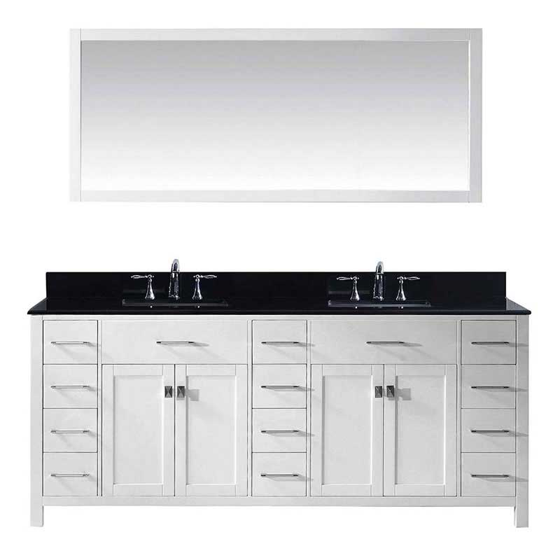 "Virtu USA Caroline Parkway 78"" Double Bathroom Vanity in White with Black Galaxy Granite Top and Square Sink with Polished Chrome Faucet and Mirror"