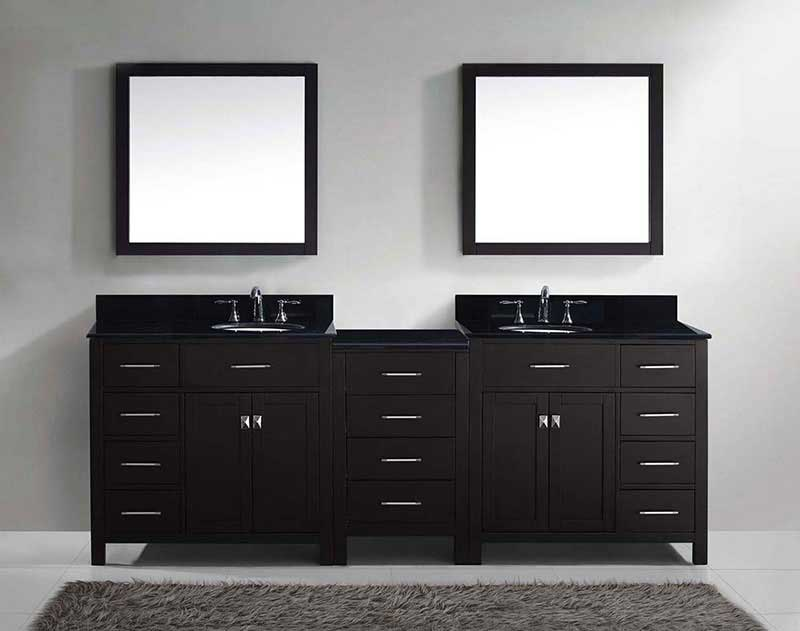 "Virtu USA Caroline Parkway 93"" Double Bathroom Vanity in Espresso with Marble Top and Round Sink with Polished Chrome Faucet and Mirrors 3"