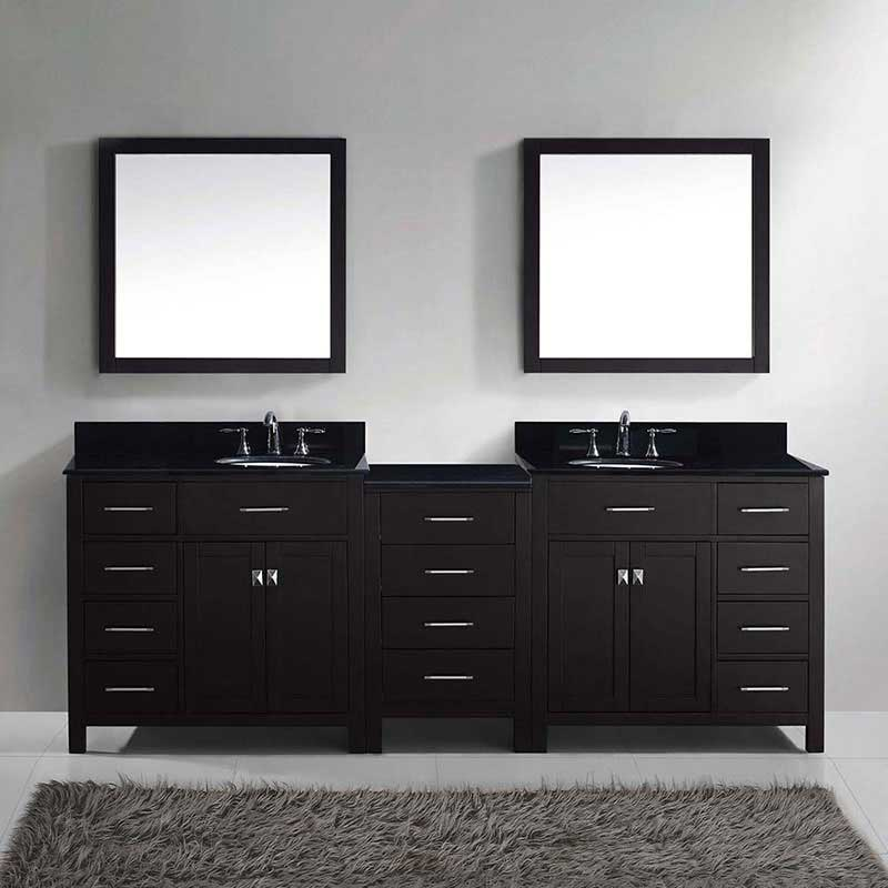 "Virtu USA Caroline Parkway 93"" Double Bathroom Vanity in Espresso with Marble Top and Round Sink with Polished Chrome Faucet and Mirrors 2"