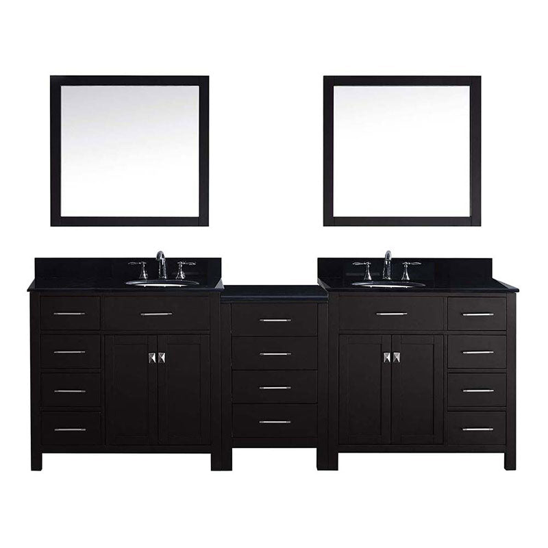 "Virtu USA Caroline Parkway 93"" Double Bathroom Vanity in Espresso with Marble Top and Round Sink with Polished Chrome Faucet and Mirrors"