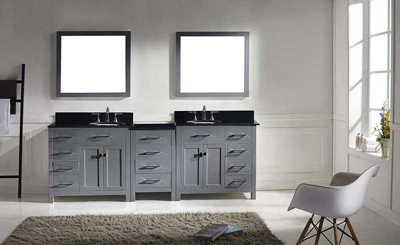 "Virtu USA Caroline Parkway 93"" Double Bathroom Vanity in Grey with Marble Top and Round Sink with Mirrors 3"