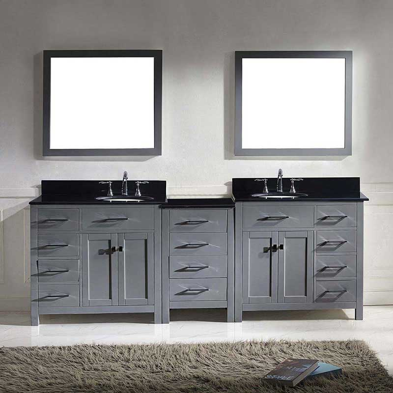"Virtu USA Caroline Parkway 93"" Double Bathroom Vanity in Grey with Marble Top and Round Sink with Mirrors 2"