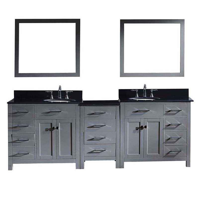 "Virtu USA Caroline Parkway 93"" Double Bathroom Vanity in Grey with Marble Top and Round Sink with Mirrors"