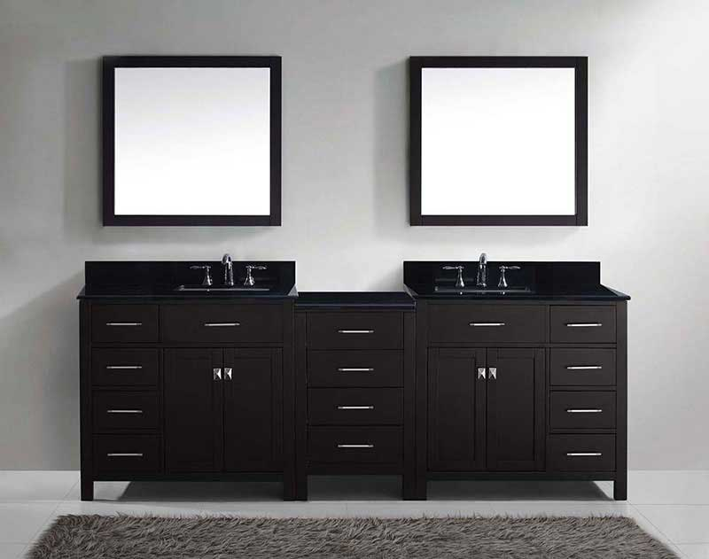 "Virtu USA Caroline Parkway 93"" Double Bathroom Vanity in Espresso with Marble Top and Square Sink with Mirrors 3"