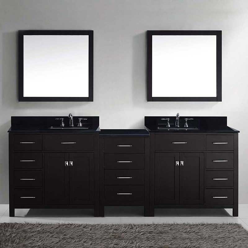 "Virtu USA Caroline Parkway 93"" Double Bathroom Vanity in Espresso with Marble Top and Square Sink with Mirrors 2"