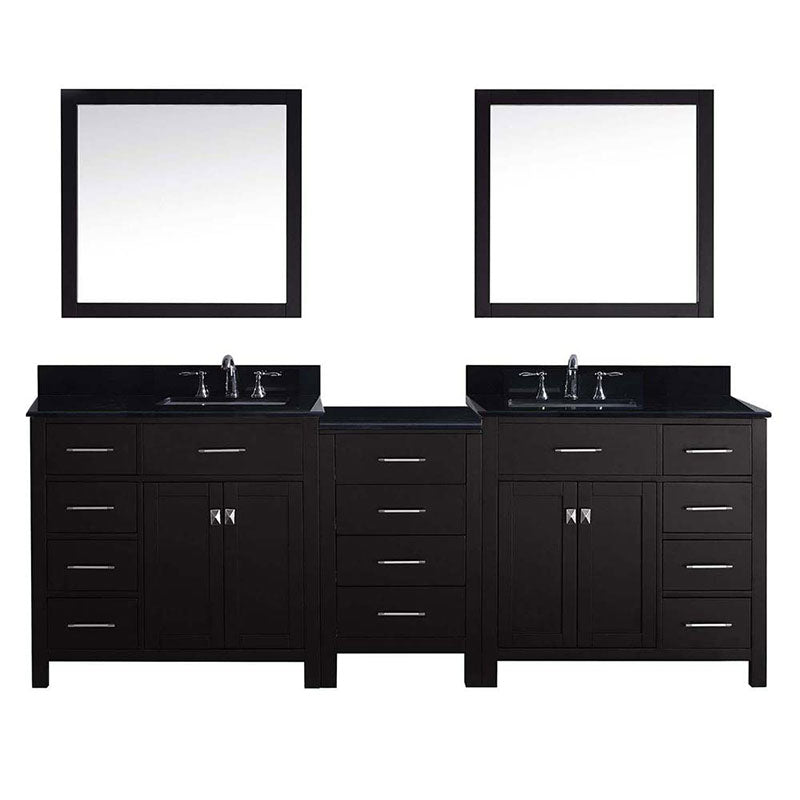 "Virtu USA Caroline Parkway 93"" Double Bathroom Vanity in Espresso with Marble Top and Square Sink with Mirrors"