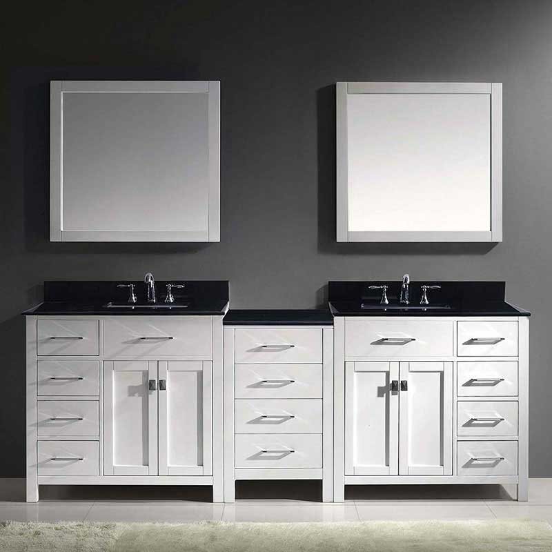 "Virtu USA Caroline Parkway 93"" Double Bathroom Vanity in White with Marble Top and Square Sink with Brushed Nickel Faucet and Mirrors 2"