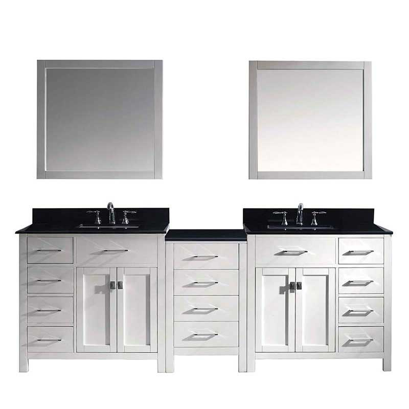 "Virtu USA Caroline Parkway 93"" Double Bathroom Vanity in White with Marble Top and Square Sink with Brushed Nickel Faucet and Mirrors"