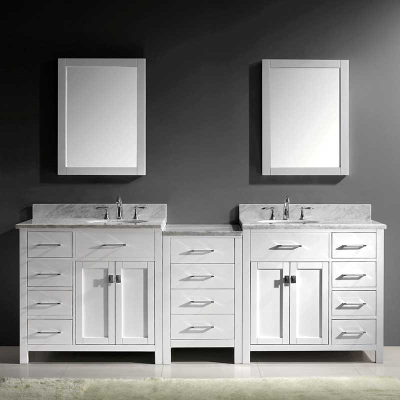 Virtu USA Caroline Parkway 93 Double Bathroom Vanity Set in White