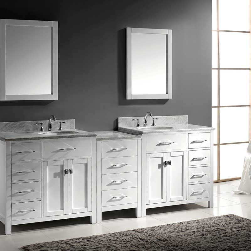 Virtu USA Caroline Parkway 93 Double Bathroom Vanity Set in White 2
