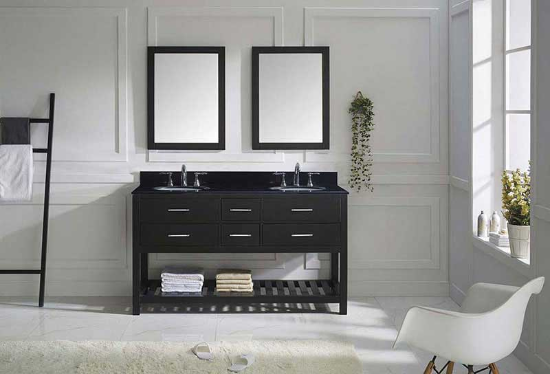 "Virtu USA Caroline Estate 60"" Double Bathroom Vanity in Espresso with Black Galaxy Granite Top and Round Sink with Brushed Nickel Faucet and Mirrors 3"