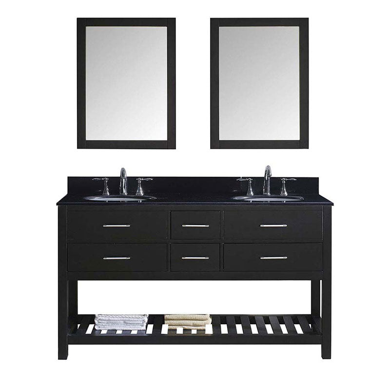 "Virtu USA Caroline Estate 60"" Double Bathroom Vanity in Espresso with Black Galaxy Granite Top and Round Sink with Brushed Nickel Faucet and Mirrors"