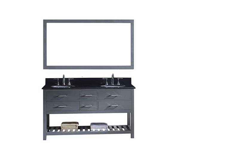 "Virtu USA Caroline Estate 60"" Double Bathroom Vanity in Grey with Black Galaxy Granite Top and Round Sink with Brushed Nickel Faucet and Mirror"