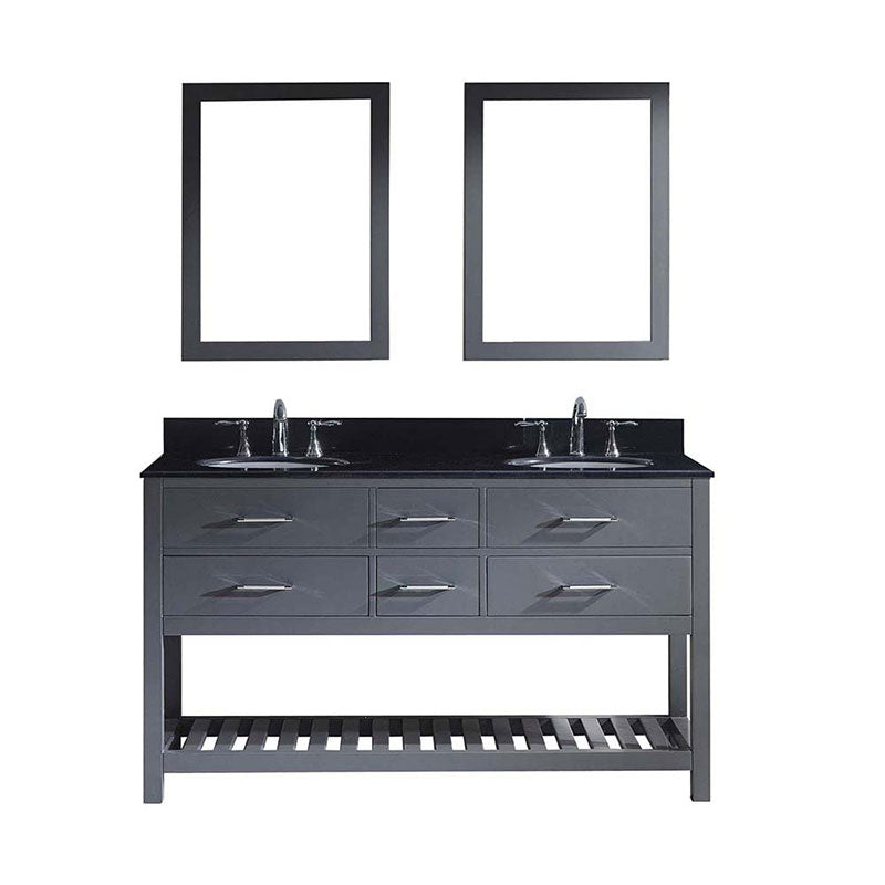 "Virtu USA Caroline Estate 60"" Double Bathroom Vanity in Grey with Black Galaxy Granite Top and Round Sink with Brushed Nickel Faucet and Mirrors"