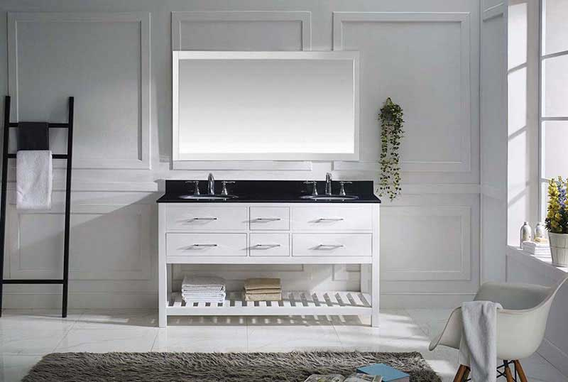 "Virtu USA Caroline Estate 60"" Double Bathroom Vanity in White with Black Galaxy Granite Top and Round Sink with Polished Chrome Faucet and Mirror 3"