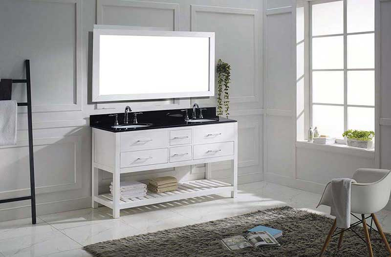 "Virtu USA Caroline Estate 60"" Double Bathroom Vanity in White with Black Galaxy Granite Top and Round Sink with Polished Chrome Faucet and Mirror 4"