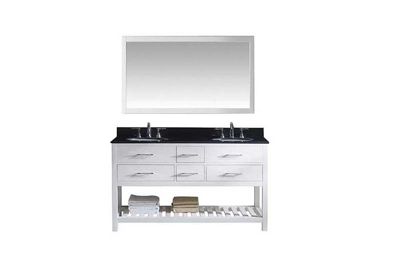 "Virtu USA Caroline Estate 60"" Double Bathroom Vanity in White with Black Galaxy Granite Top and Round Sink with Polished Chrome Faucet and Mirror"