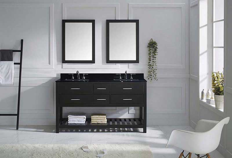 "Virtu USA Caroline Estate 60"" Double Bathroom Vanity in Espresso with Black Galaxy Granite Top and Square Sink with Brushed Nickel Faucet and Mirrors 3"