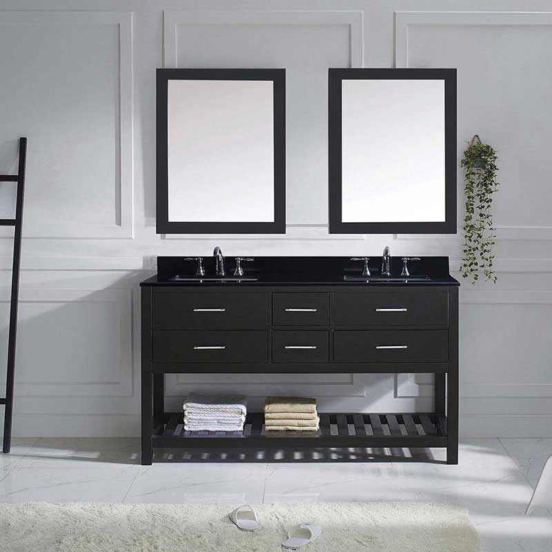 "Virtu USA Caroline Estate 60"" Double Bathroom Vanity in Espresso with Black Galaxy Granite Top and Square Sink with Brushed Nickel Faucet and Mirrors 2"