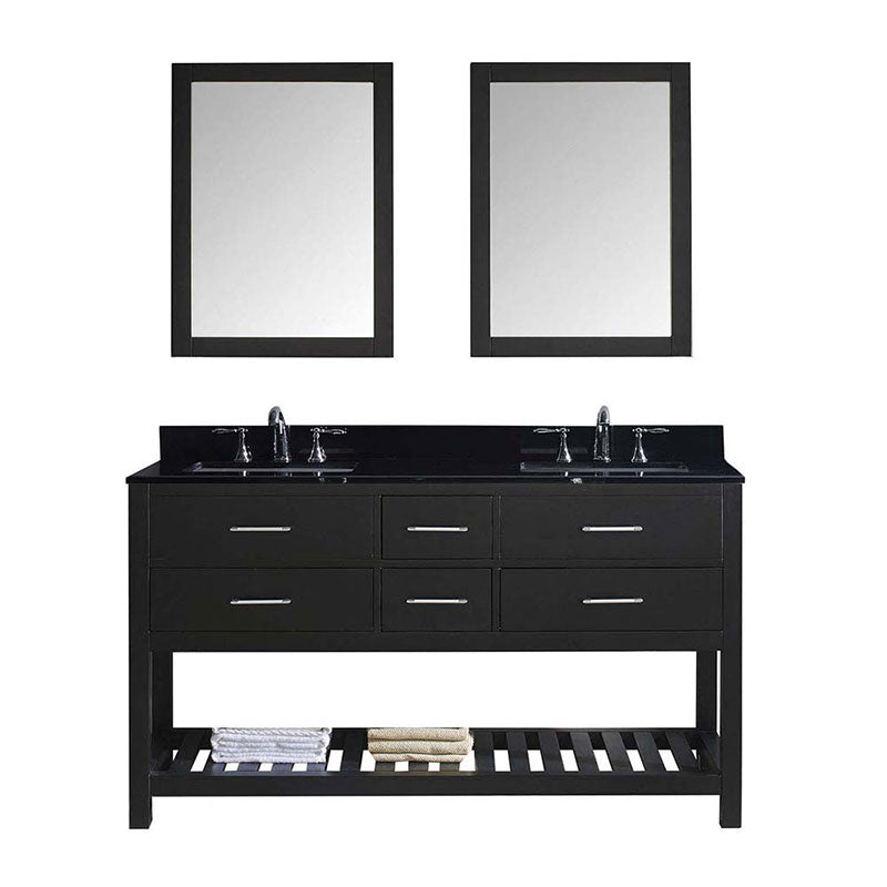 "Virtu USA Caroline Estate 60"" Double Bathroom Vanity in Espresso with Black Galaxy Granite Top and Square Sink with Brushed Nickel Faucet and Mirrors"