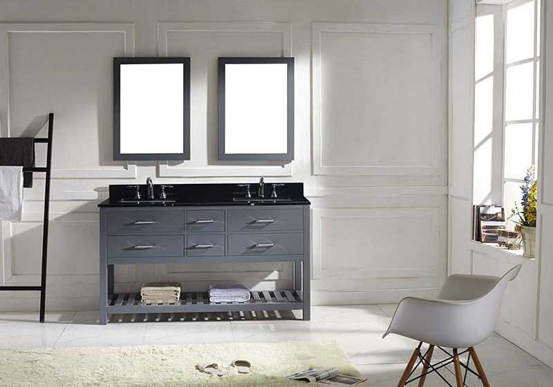 "Virtu USA Caroline Estate 60"" Double Bathroom Vanity in Grey with Black Galaxy Granite Top and Square Sink with Mirrors 3"