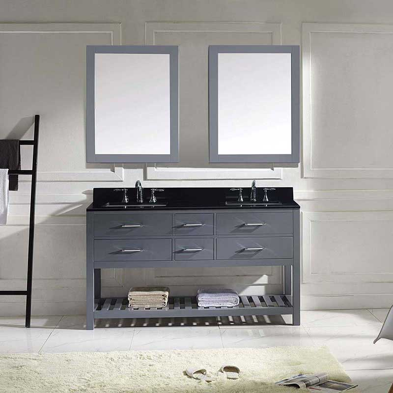 "Virtu USA Caroline Estate 60"" Double Bathroom Vanity in Grey with Black Galaxy Granite Top and Square Sink with Mirrors 2"