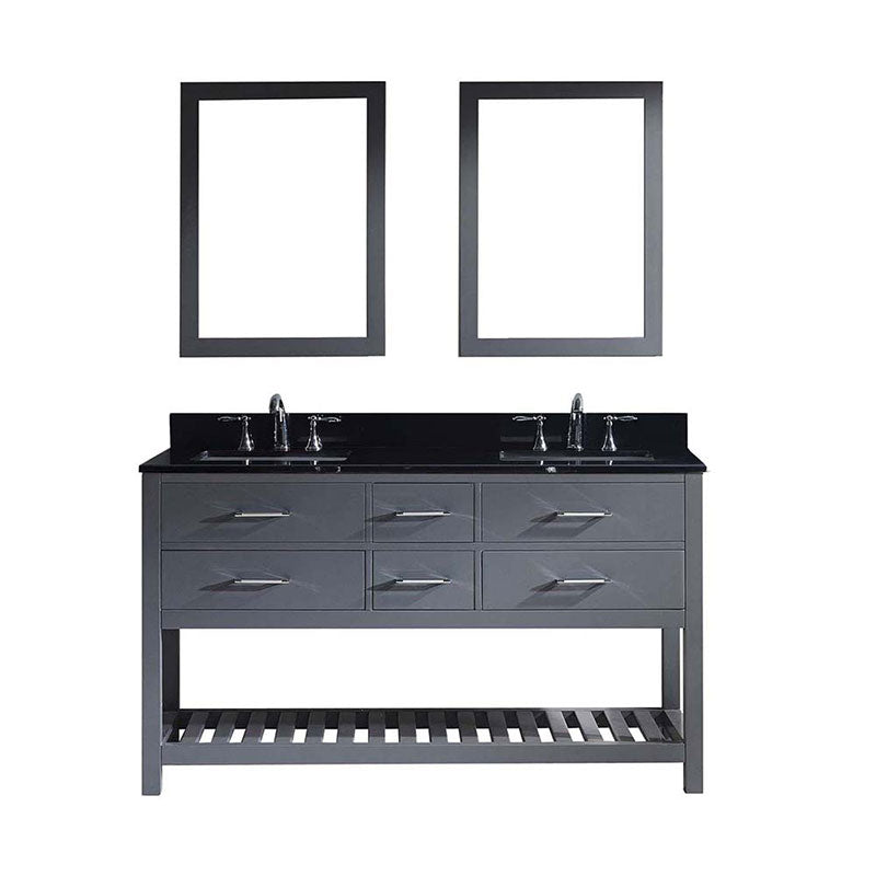 "Virtu USA Caroline Estate 60"" Double Bathroom Vanity in Grey with Black Galaxy Granite Top and Square Sink with Mirrors"