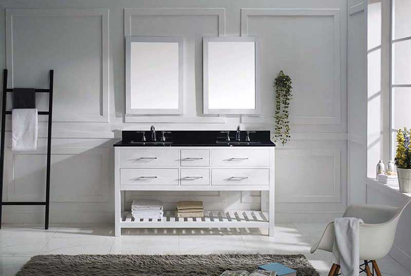 "Virtu USA Caroline Estate 60"" Double Bathroom Vanity in White with Black Galaxy Granite Top and Square Sink with Polished Chrome Faucet and Mirrors 3"