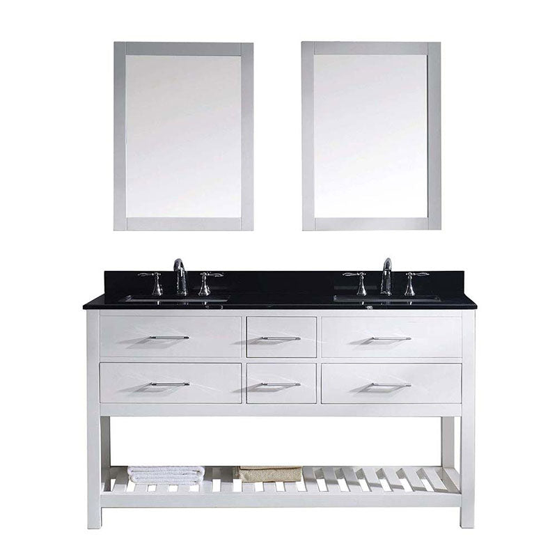 "Virtu USA Caroline Estate 60"" Double Bathroom Vanity in White with Black Galaxy Granite Top and Square Sink with Polished Chrome Faucet and Mirrors"