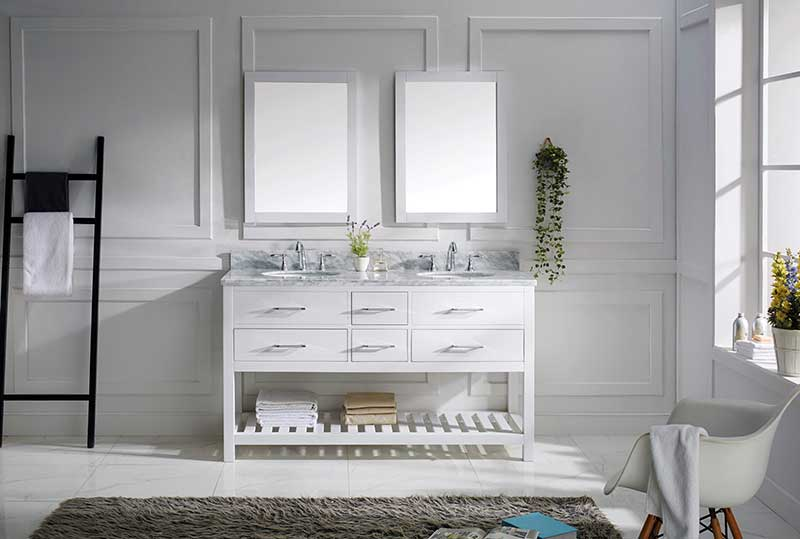 Virtu USA Caroline Estate 60 Bathroom Vanity Cabinet in White 2