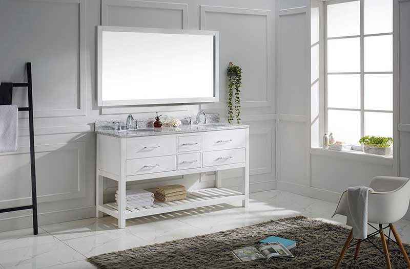 Virtu USA Caroline Estate 60 Bathroom Vanity Cabinet in White 3