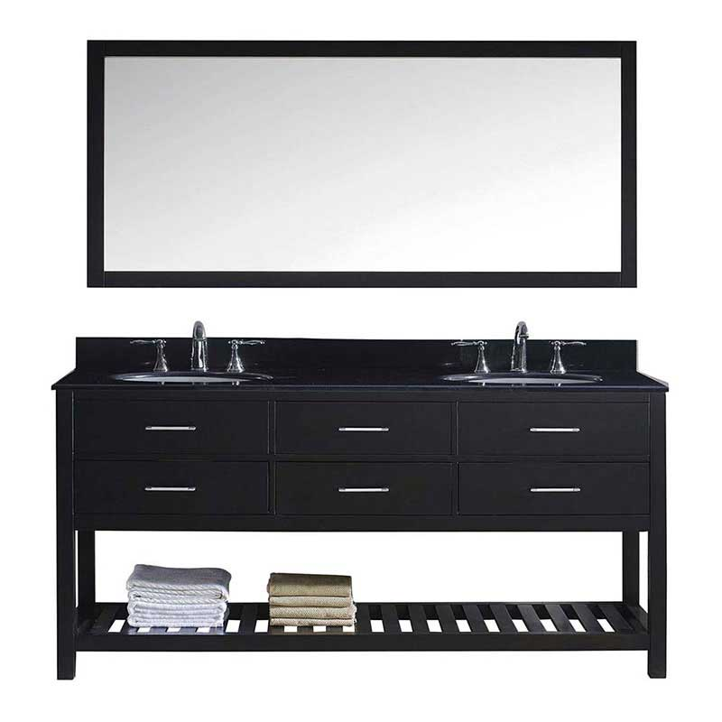 "Virtu USA Caroline Estate 72"" Double Bathroom Vanity in Espresso with Black Galaxy Granite Top and Round Sink with Brushed Nickel Faucet and Mirror"