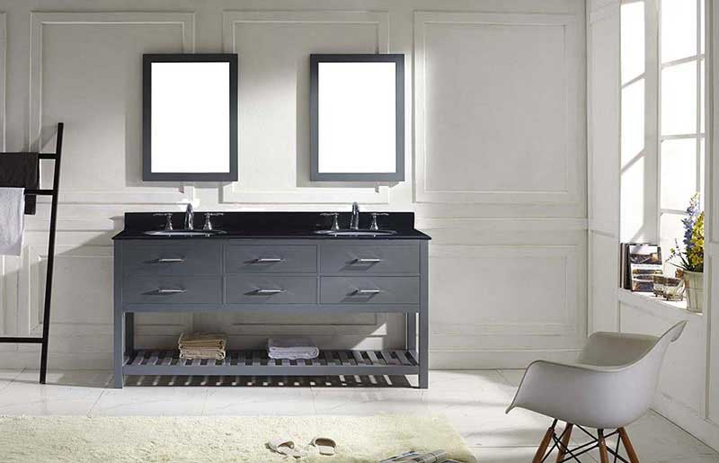 "Virtu USA Caroline Estate 72"" Double Bathroom Vanity in Grey with Black Galaxy Granite Top and Round Sink with Polished Chrome Faucet and Mirrors 3"