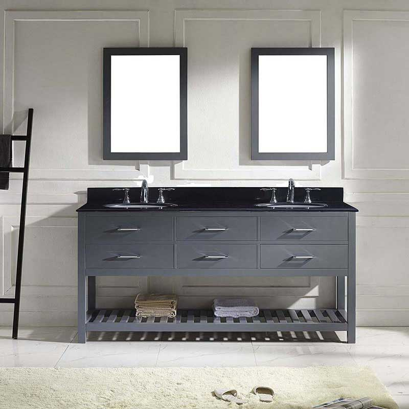 "Virtu USA Caroline Estate 72"" Double Bathroom Vanity in Grey with Black Galaxy Granite Top and Round Sink with Polished Chrome Faucet and Mirrors 2"